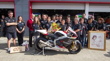 Tomizawa bike presented to his family in Motegi