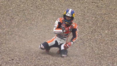 Hard fall for Pedrosa as Marquez goes quickest