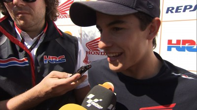 Marquez all smiles as he leads on Day 1