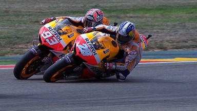 Pedrosa crashes out after Marquez touch