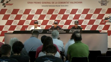 Los candidatos al título de Moto3™ comparten impresiones en Valencia