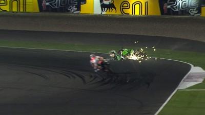 ホンダ・グレシーニのバウティスタが3番手走行中に転倒、レディングがデビュー戦で7位