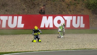 Rossi heads row three after injuring finger in FP4 crash