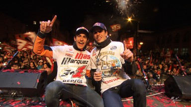 Fans celebrate with Marc and Alex Marquez in Cervera