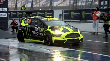 Rossi entertains the crowd at Monza Rally Show