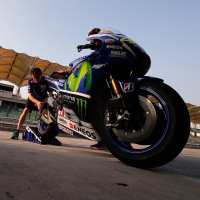 @valeyellow46's bike getting prepared for his first run at Sepang