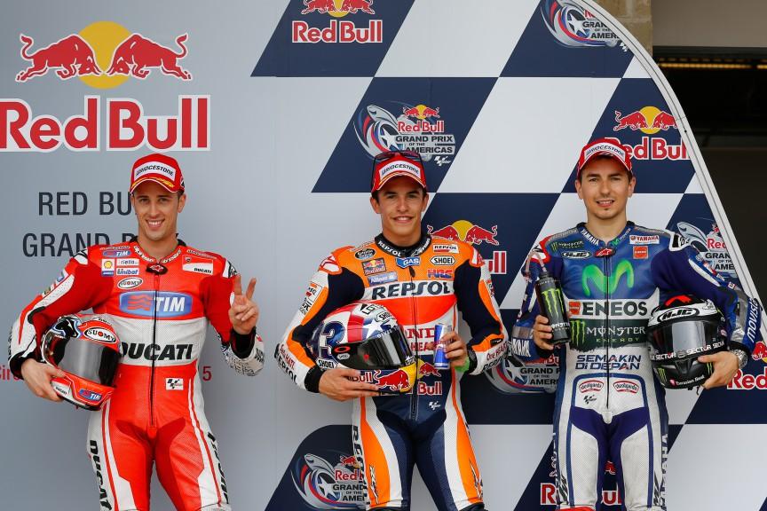 Dovizioso, Marquez, Lorenzo, Ducati Team, Repsol Honda Team, Movistar Yamaha MotoGP, COTA Q2