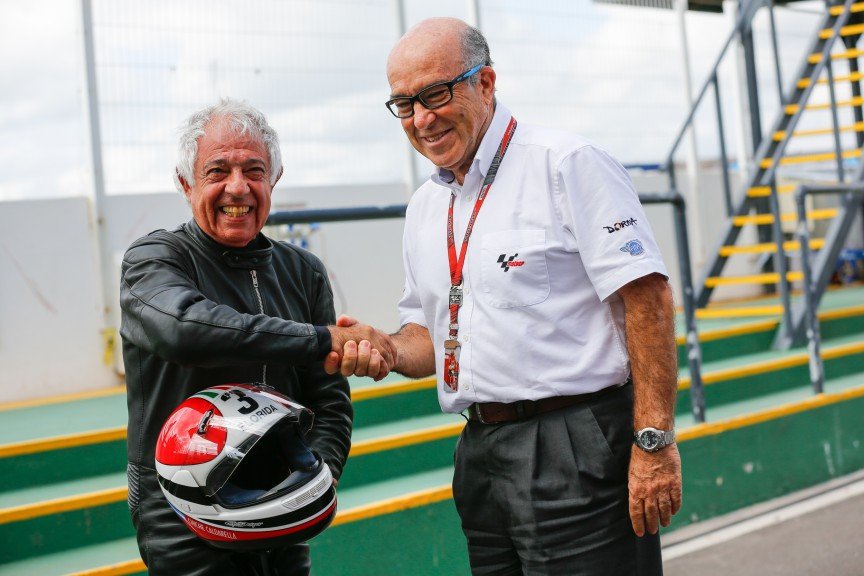 Winner of GP Argentina 1962 Benedicto 'Chiche' Caldarella and Dorna Sports CEO Carmelo Ezpeleta