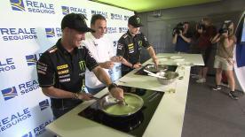 You'd think with their level of skill & hand-eye coordination, flipping a Spanish Omelette would present no challenge for the average MotoGP rider….