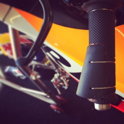 Modified left grip to assist @marcmarquez93 with his broken finger.