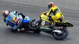 A Curva 13 voltou a ser palco de um despique na Moto2™ quando Rins fez manobra agressiva para ir por dentro com o 2º lugar em mente.
