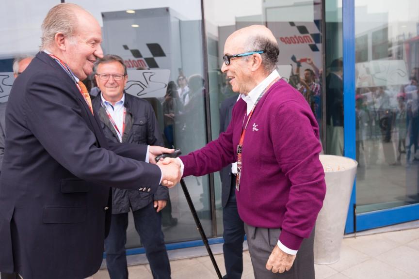H.M. Don Juan Carlos, Dorna CEO Carmelo Ezpeleta