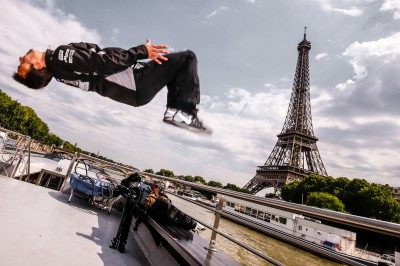MotoGP riders cruise the Seine