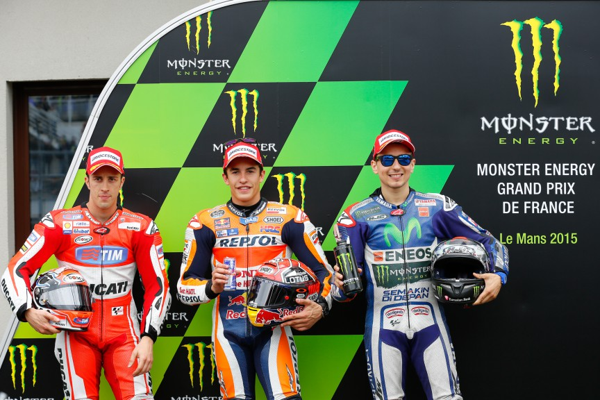 Dovizioso, Marquez, Lorenzo, Ducati Team, Repsol Honda Team, Movistar Yamaha MotoGP, Le Mans Q2
