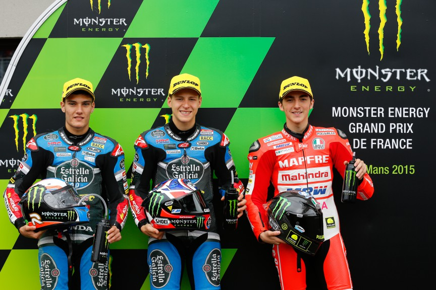 Navarro, Quartararo, Bagnaia, Estrella Galicia 0,0, Mapfre Team Mahindra, Le Mans QP