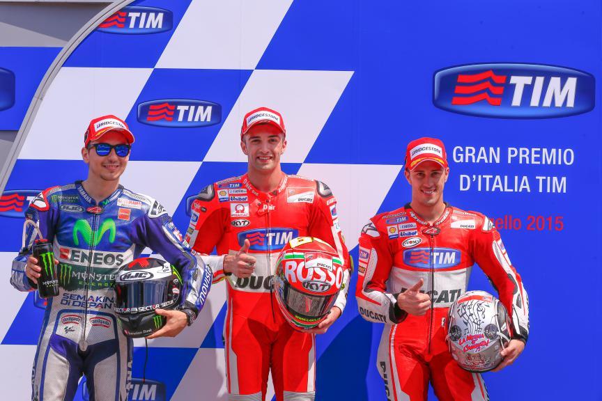 Lorenzo, Iannone, Dovizioso, Movistar Yamaha MotoGP, Ducati Team, Mugello Q2