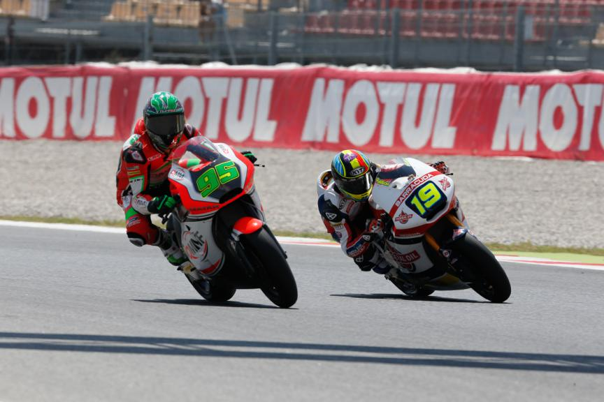 Anthony West, Xavier Simeon; QMMF Racing Team, Federal Oil Gresini Moto2 - Catalan GP, Moto2 FP2