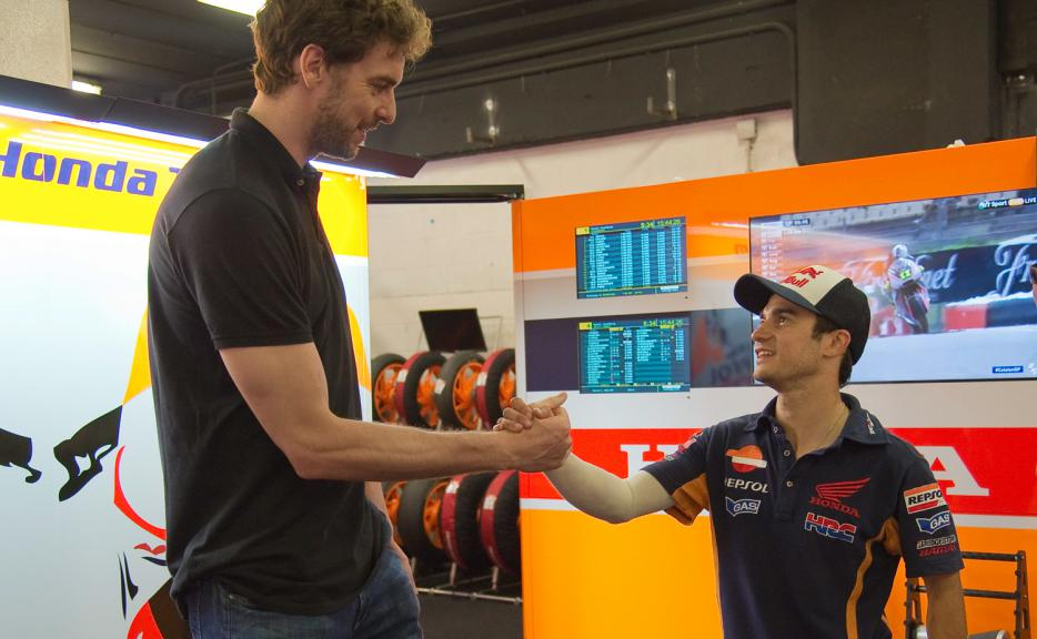 Pau Gasol, Chicago Bulls player, and Dani Pedrosa