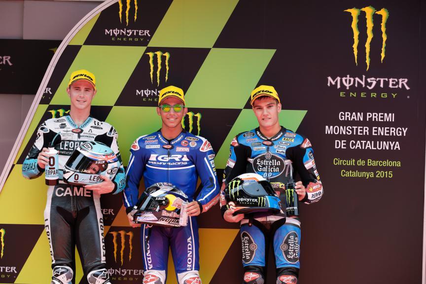 Danny Kent, Enea Bastianini, Jorge Navarro - Catalan GP, Moto3 QP