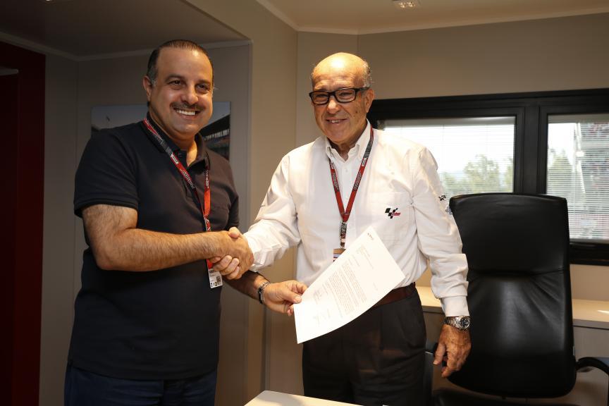 Nasser bin Khalifa Al-Attiyah, QMMF President, & Carmelo Ezpeleta, Dorna Sports CEO