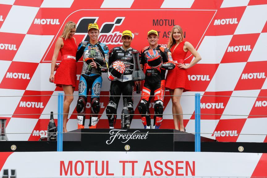 Zarco, Lowes, Rabat, Ajo Motorsport, Speed Up Racing, Estrella Galicia 0,0 Marc VDS, Assen Race