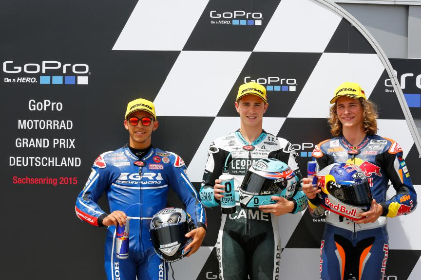 Enea Bastianini, Danny Kent, Karel Hanika, Junior Team Gresini Moto3, German GP QP