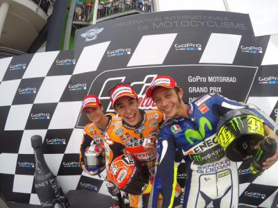 Celebrating #MotoGP podium with @marcmarquez93, @26_DaniPedrosa & @ValeYellow46! #GoPro #GermanGP