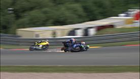 The Italtrans Racing Team rider crashes into Tito Rabat on the last corner of the last lap at the Sachsenring, ending both their hopes for a Moto2 podium finish.