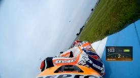 Relive Marquez's pole setting lap at the Indianapolis Motor Speedway, complete with telemetry data.