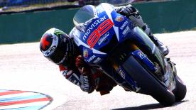 Jorge Lorenzo topped the combined timesheets on Friday after a dramatic FP2 session that saw a number of riders crash.