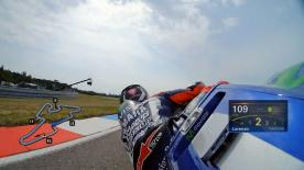 Relive Lorenzo's pole setting lap at the Automotodrom Brno, complete with telemetry data.