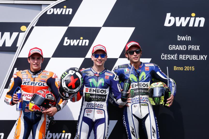 Marquez, Lorenzo, Rossi, Repsol Honda Team, Movistar Yamaha MotoGP, Brno Q2