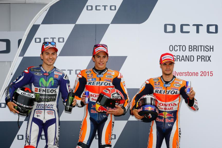 Lorenzo, Marquez, Pedrosa, Movistar Yamaha MotoGP, Repsol Honda Team, British GP Q2