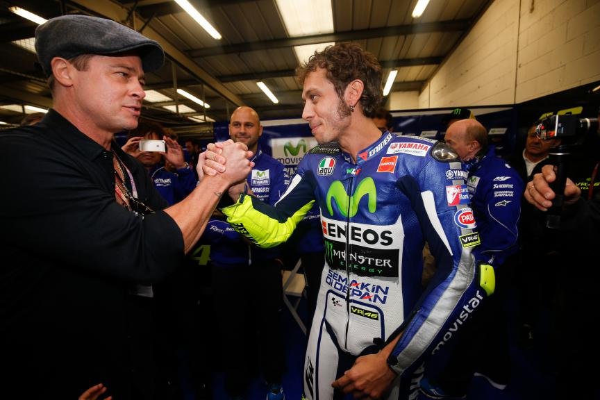Hollywood star Brad Pitt and Valentino Rossi