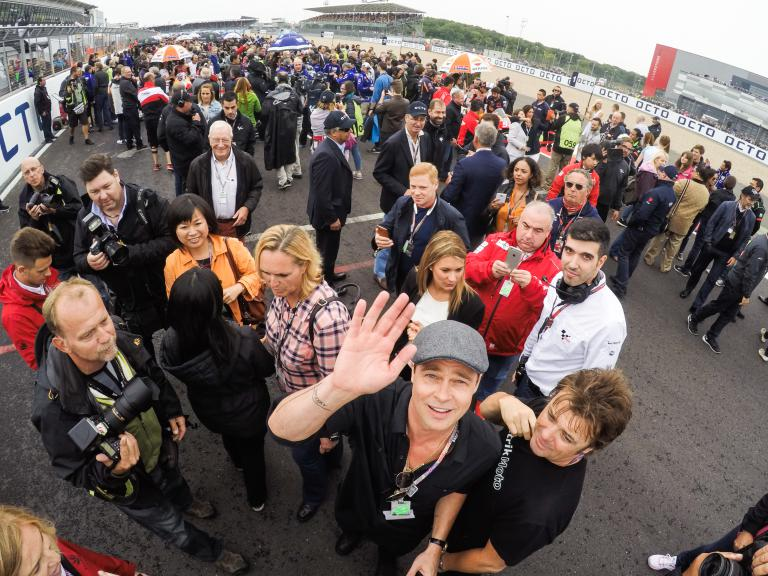 Hollywood star Brad Pitt and filmmaker Mark Neale in the British GP Pit