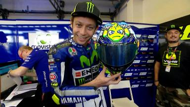Rossi's Misano helmet: Who or what is the shark hunting Vale?