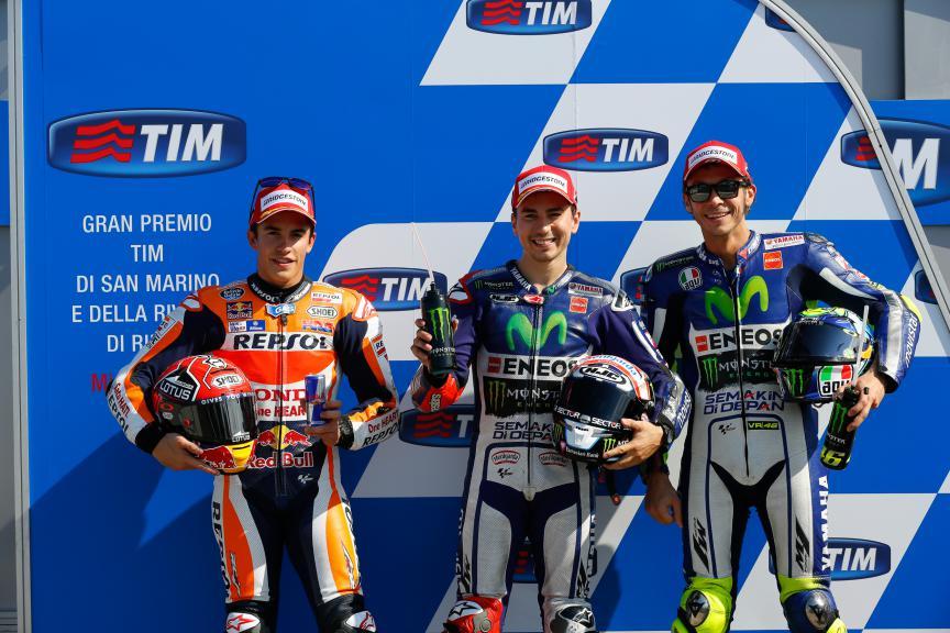Marquez, Lorenzo, Rossi, Repsol Honda Team, Movistar Yamaha MotoGP, San Marino GP Q2