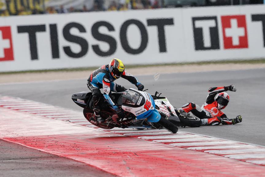 De Angelis and Hernandez crash, E-Motion IodaRacing Team, Octo Pramac Racing, San MArino GP RACE