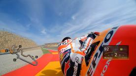 Relive Marquez's pole setting lap at MotorLand Aragon, complete with telemetry data.