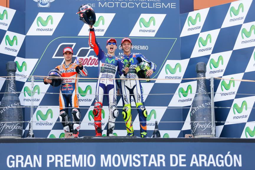 Pedrosa, Lorenzo, Rossi, Repsol Honda Team, Movistar Yamaha MotoGP, Aragón GP RACE