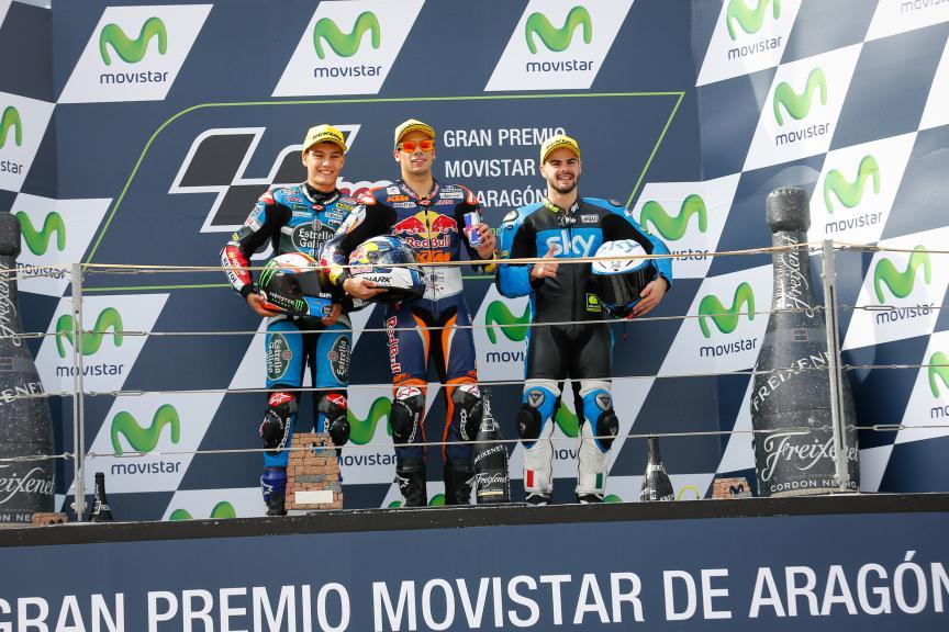 Navarro, Oliveira, Fenati, Estrella Galicia 0,0, Red Bull KTM Ajo, Sky Racing Team VR46, Aragón GP RACE