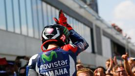 Jorge Lorenzo sent a humorous message to his teammate and main title rival Valentino Rossi after taking his 6th win of the season in Aragon.
