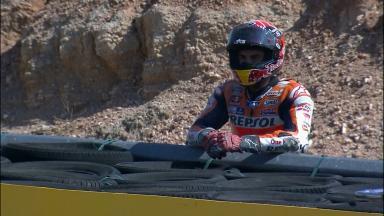 Márquez termina con una caída el GP de Aragón