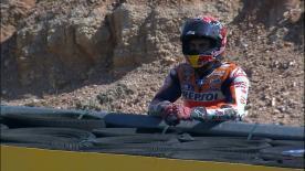 El piloto de Repsol Honda, Marc Márquez, víctima de una caída en el Gran Premio Movistar de Aragón.