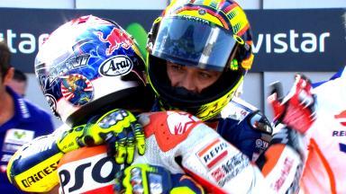 Rossi & Pedrosa's epic Aragon brawl