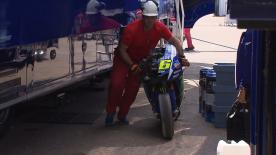 Movistar Yamaha's Valentino Rossi fell during a post race test in Aragon, reporting slight pain in his right arm but deemed OK.