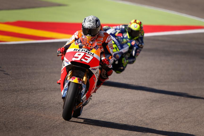 Valentino Rossi, Marc Marquez, Movistar Yamaha MotoGP, Repsol Honda Team, Aragón GP
