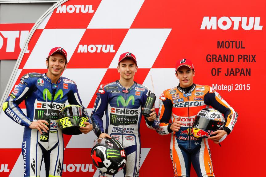 Marquez, Lorenzo, Rossi, Repsol Honda Team, Movistar Yamaha MotoGP, Japanese GP Q2