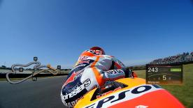 Relive Marquez's pole setting lap at Phillip Island, complete with telemetry data.