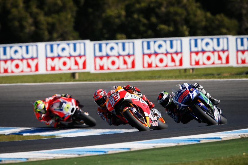 Marquez, Lorenzo, Iannone, Repsol Honda Team, Movistar Yamaha MotoGP, Ducati Team, Australian GP Race
